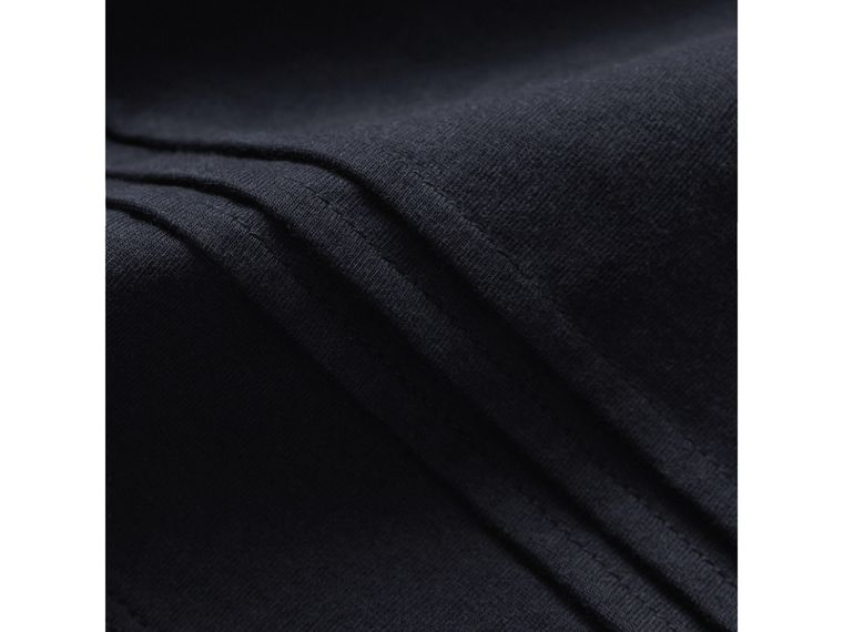 Long-sleeve Pleat and Check Detail Cotton T-shirt in Navy - Girl | Burberry - cell image 1