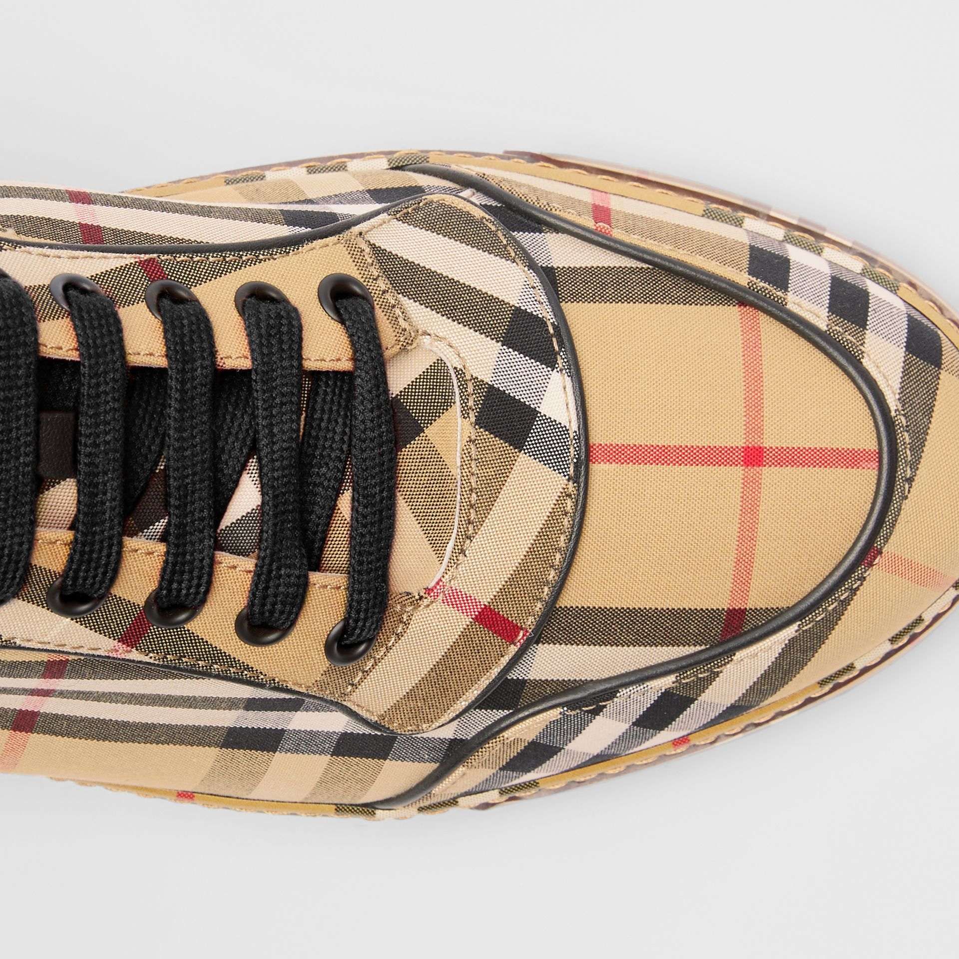 Vintage Check Cotton High-top Sneakers in Antique Yellow - Men | Burberry Hong Kong - gallery image 1