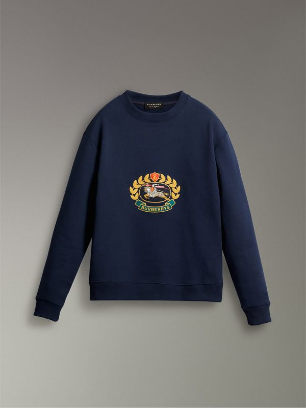 Reissued Jersey Sweatshirt in Dark Blue - Women | Burberry United States - cell image 3