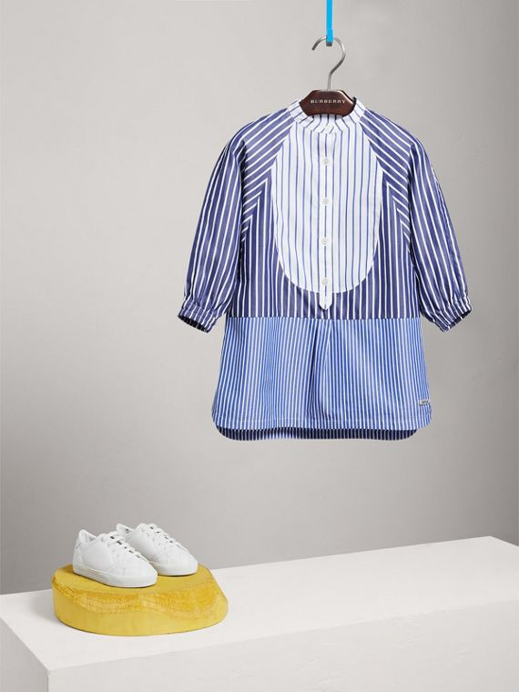 Contrasting Stripe Cotton Shirt Dress in Navy/white - Girl | Burberry - cell image 2