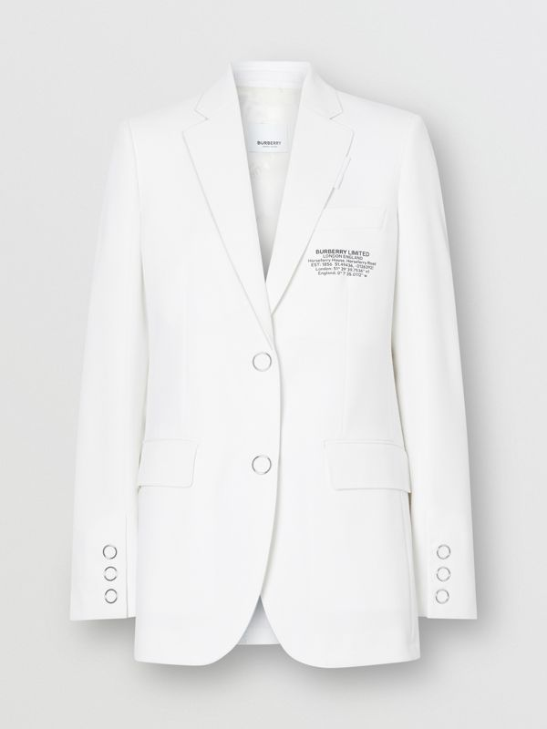 Location Print Wool Blend Tailored Jacket in Optic White - Women | Burberry - cell image 3