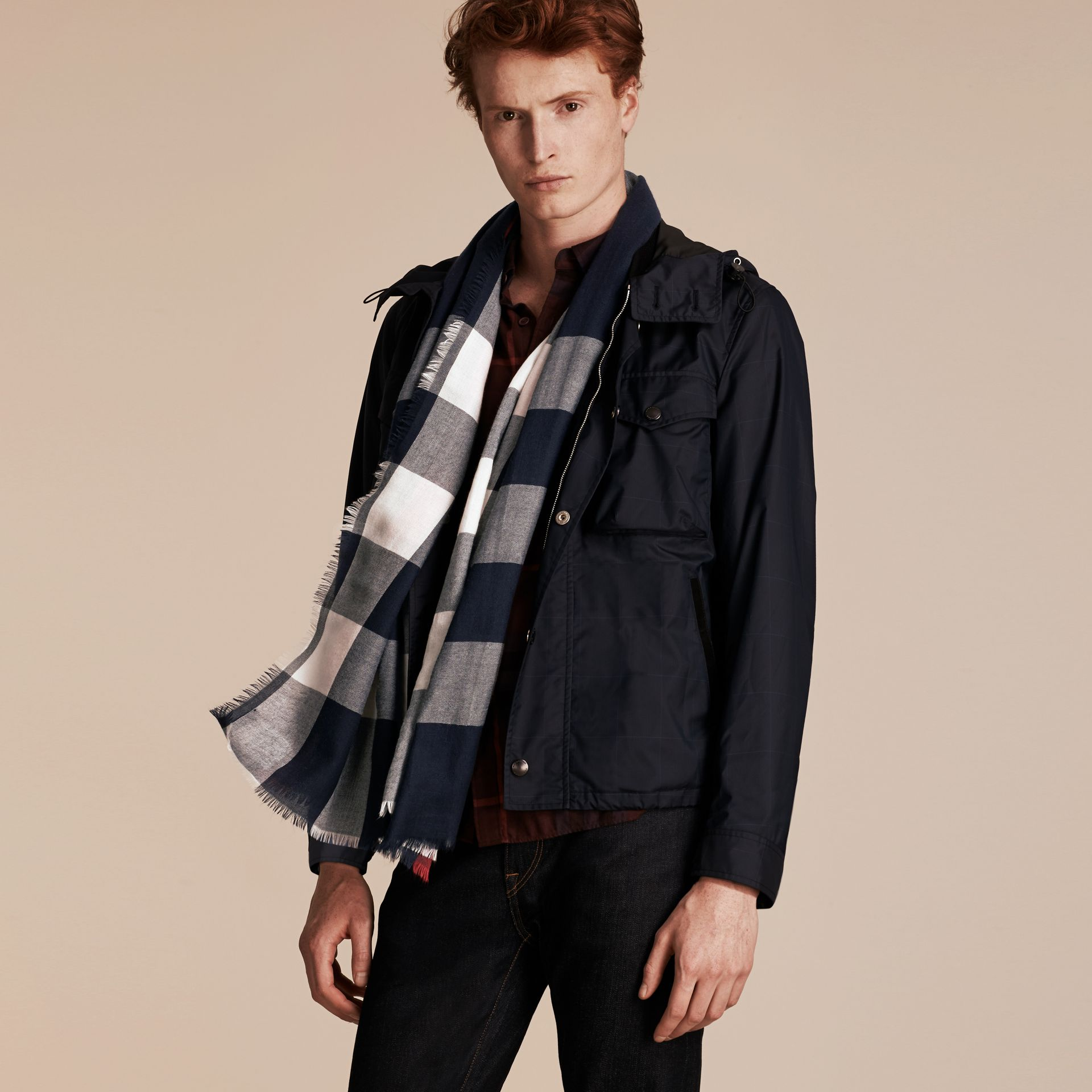 The Lightweight Cashmere Scarf in Check Navy - gallery image 4