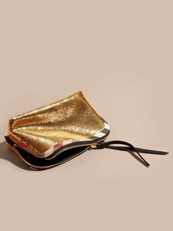 Large Zip-top Sequin and House Check Pouch in Gold/black - cell image 2