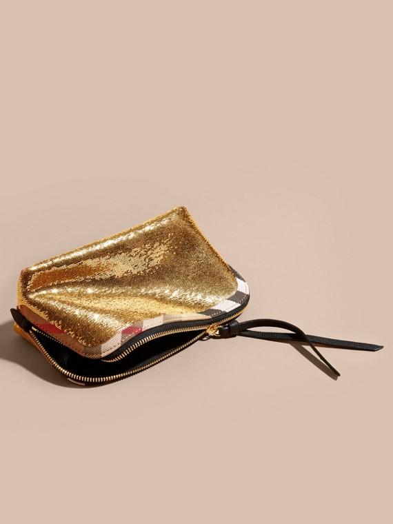 Oro/nero Trousse grande con motivo House check, paillettes e cerniera Oro/nero - cell image 2
