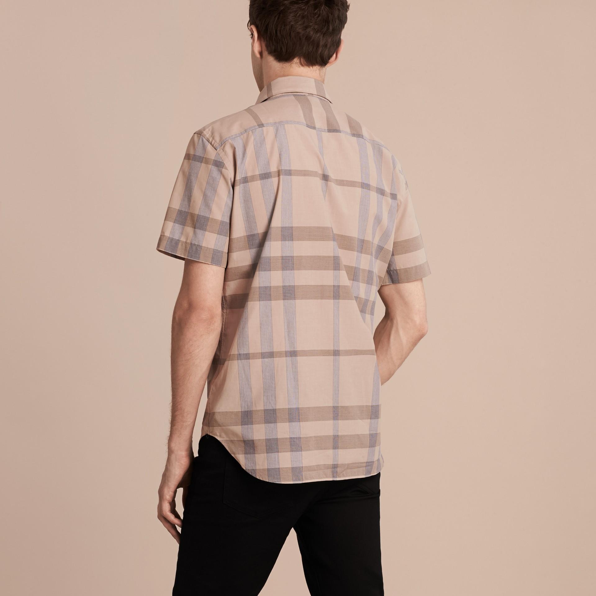 Cammello chiaro Camicia a maniche corte in cotone con motivo check Cammello Chiaro - immagine della galleria 3