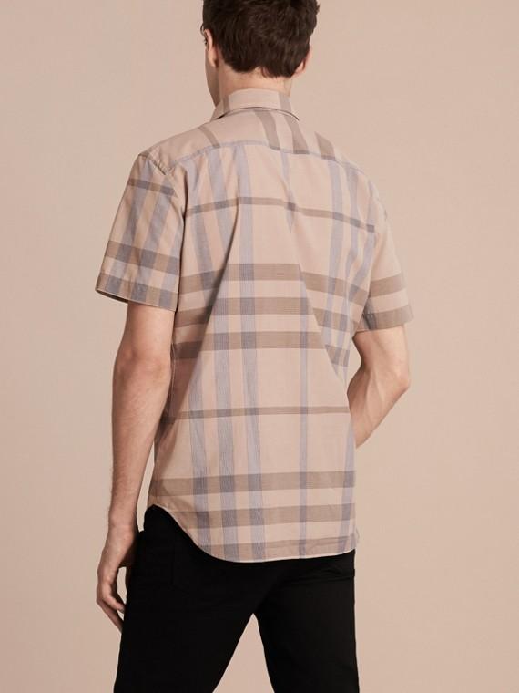 Cammello chiaro Camicia a maniche corte in cotone con motivo check Cammello Chiaro - cell image 2