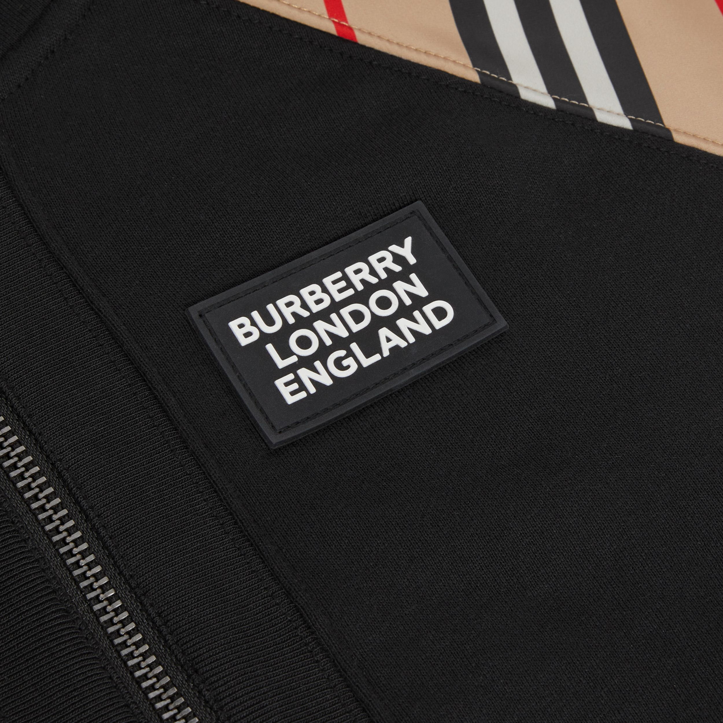 Icon Stripe Panel Cotton Hooded Top in Black | Burberry Singapore - 2