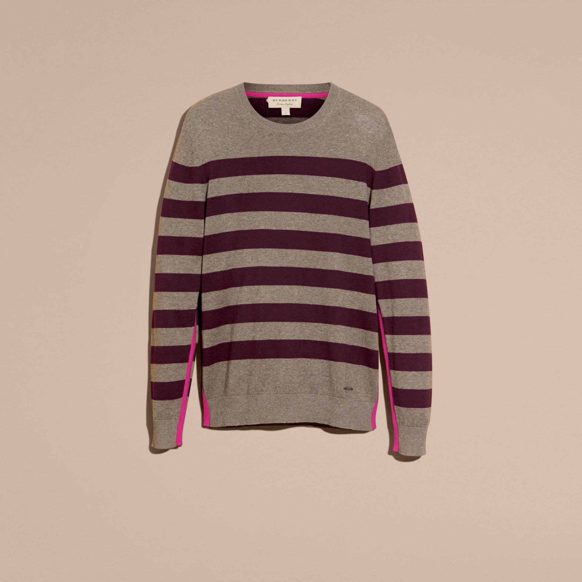 Striped Cashmere Cotton Sweater Mink Grey - gallery image 4