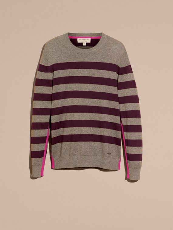 Striped Cashmere Cotton Sweater Mink Grey - cell image 3