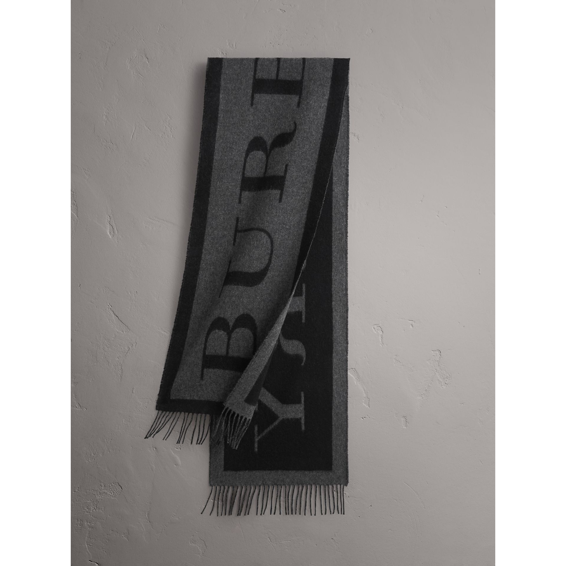 Emblem Print Cashmere Scarf in Black | Burberry - gallery image 1