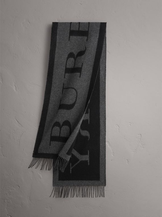 Emblem Print Cashmere Scarf in Black | Burberry Singapore