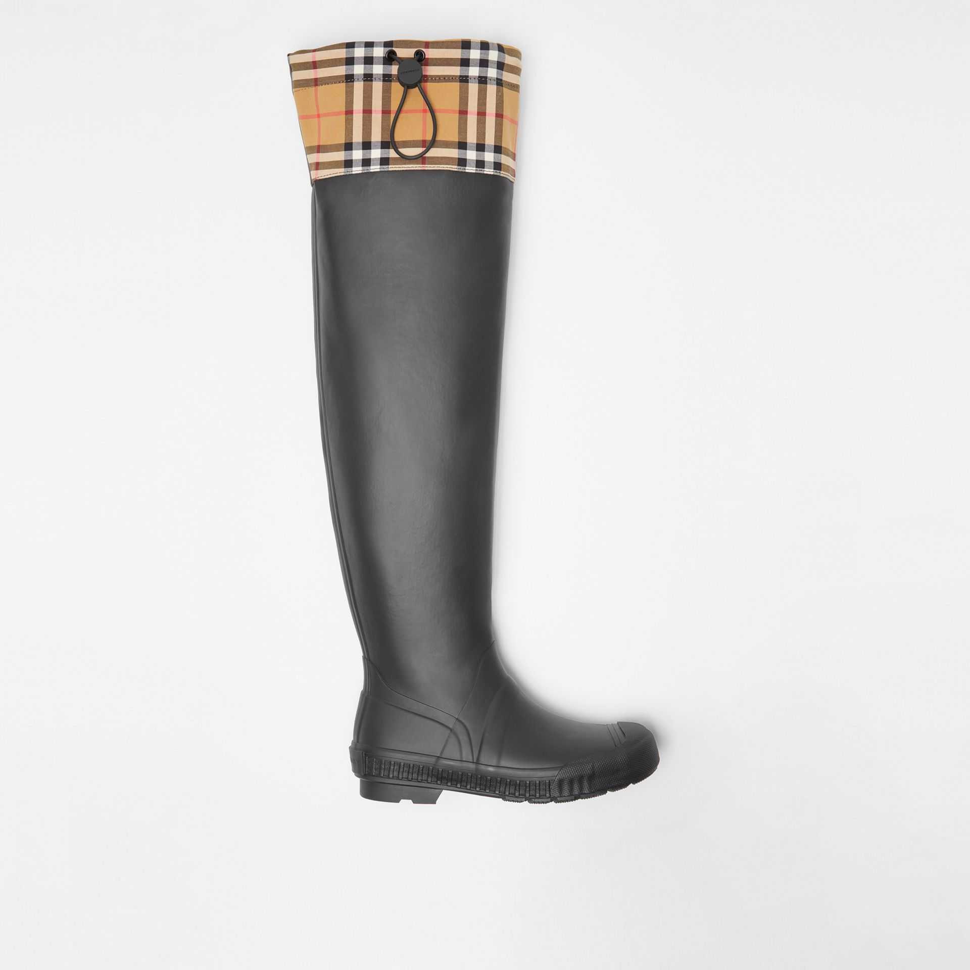 Vintage Check and Rubber Knee-high Rain Boots in Black - Women | Burberry United Kingdom - gallery image 0