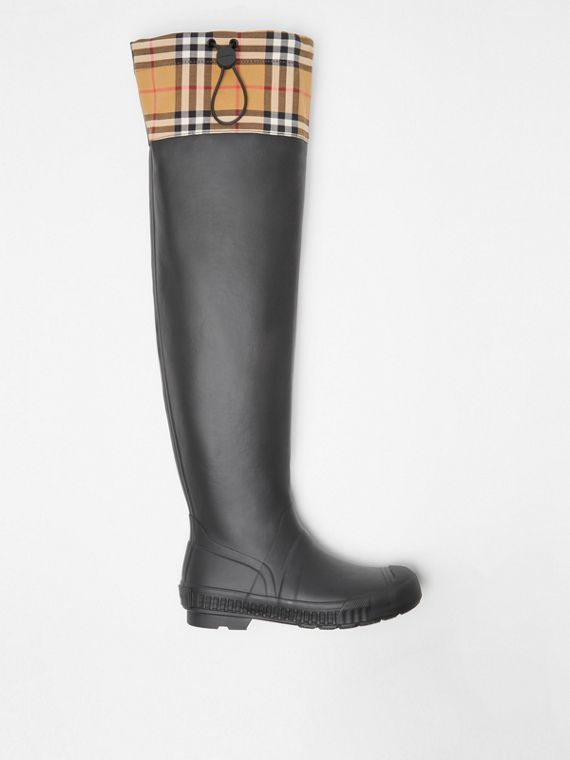 Vintage Check and Rubber Knee-high Rain Boots in Black