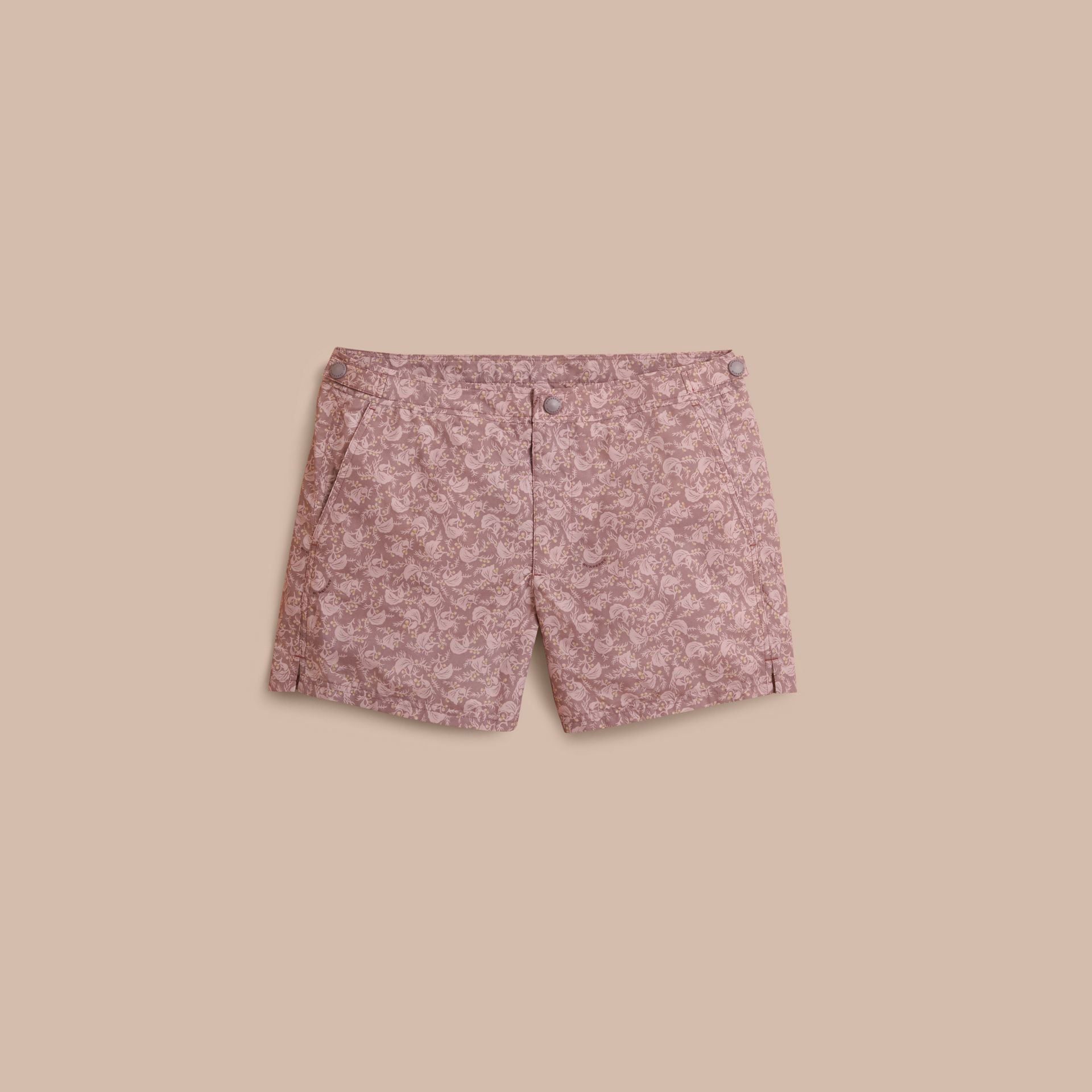 Leaf Print Swim Shorts in Mauve - Men | Burberry - gallery image 1