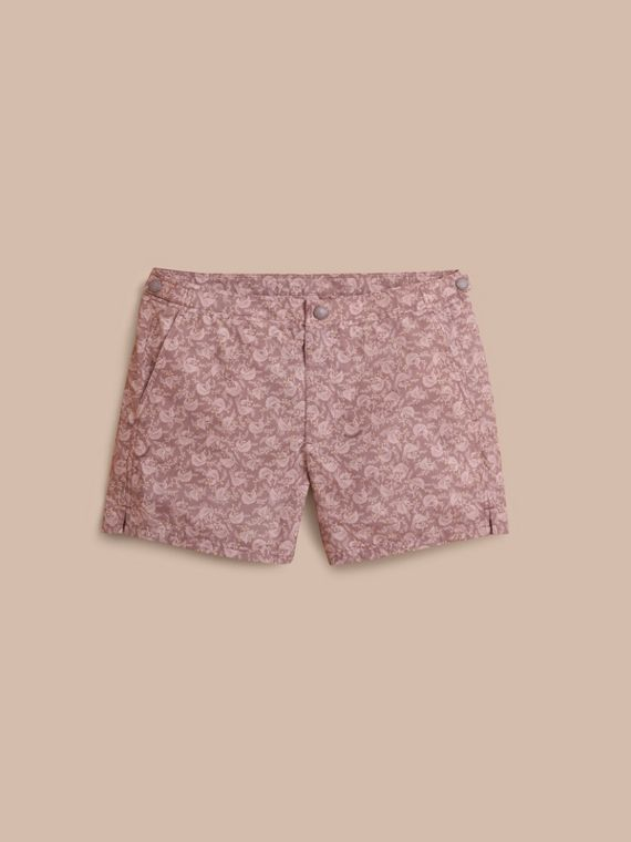 Leaf Print Swim Shorts in Mauve