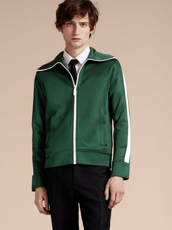 Stripe Detail Zip Front Jacket Deep Green