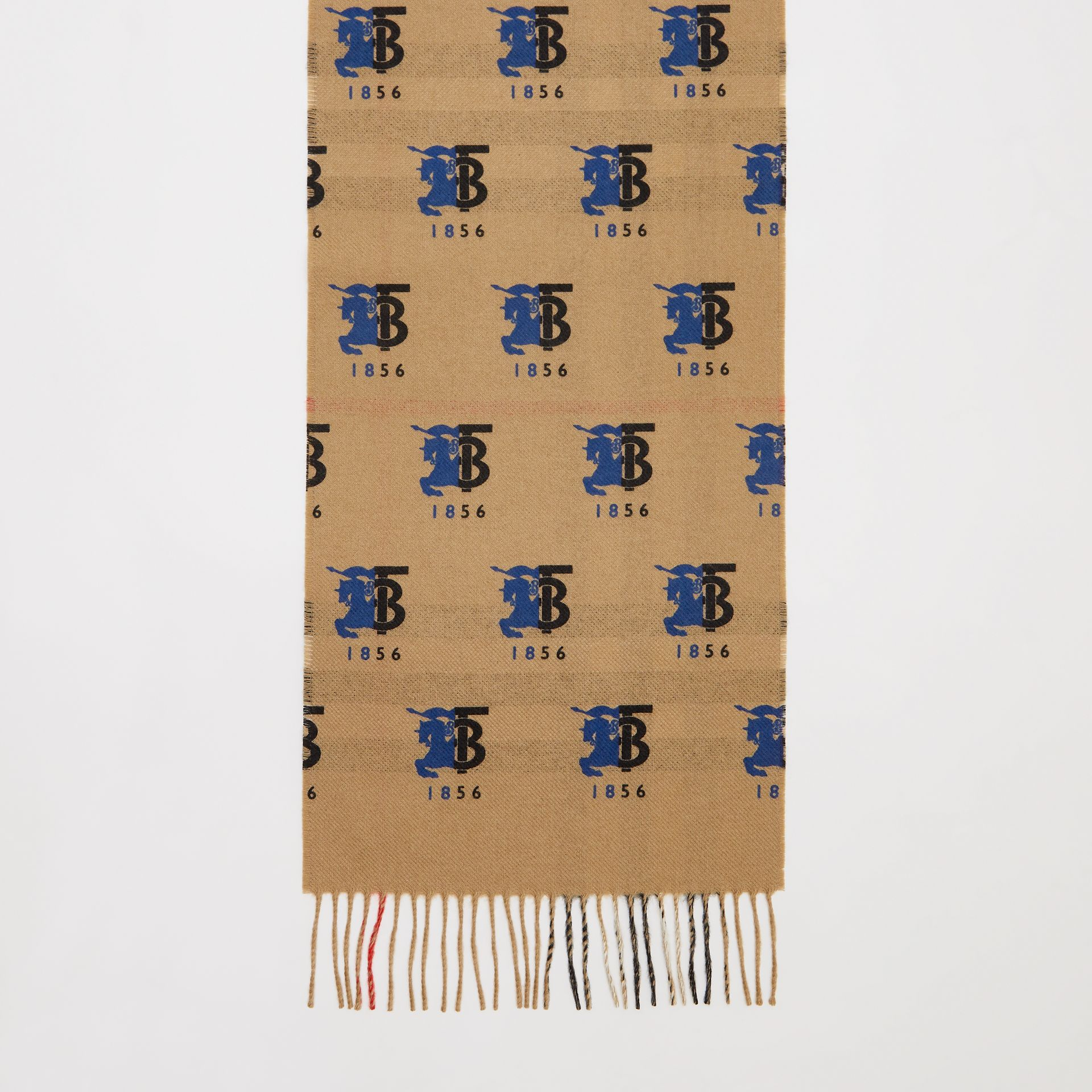 Contrast Logo Graphic Check Cashmere Scarf in Blue | Burberry - gallery image 4