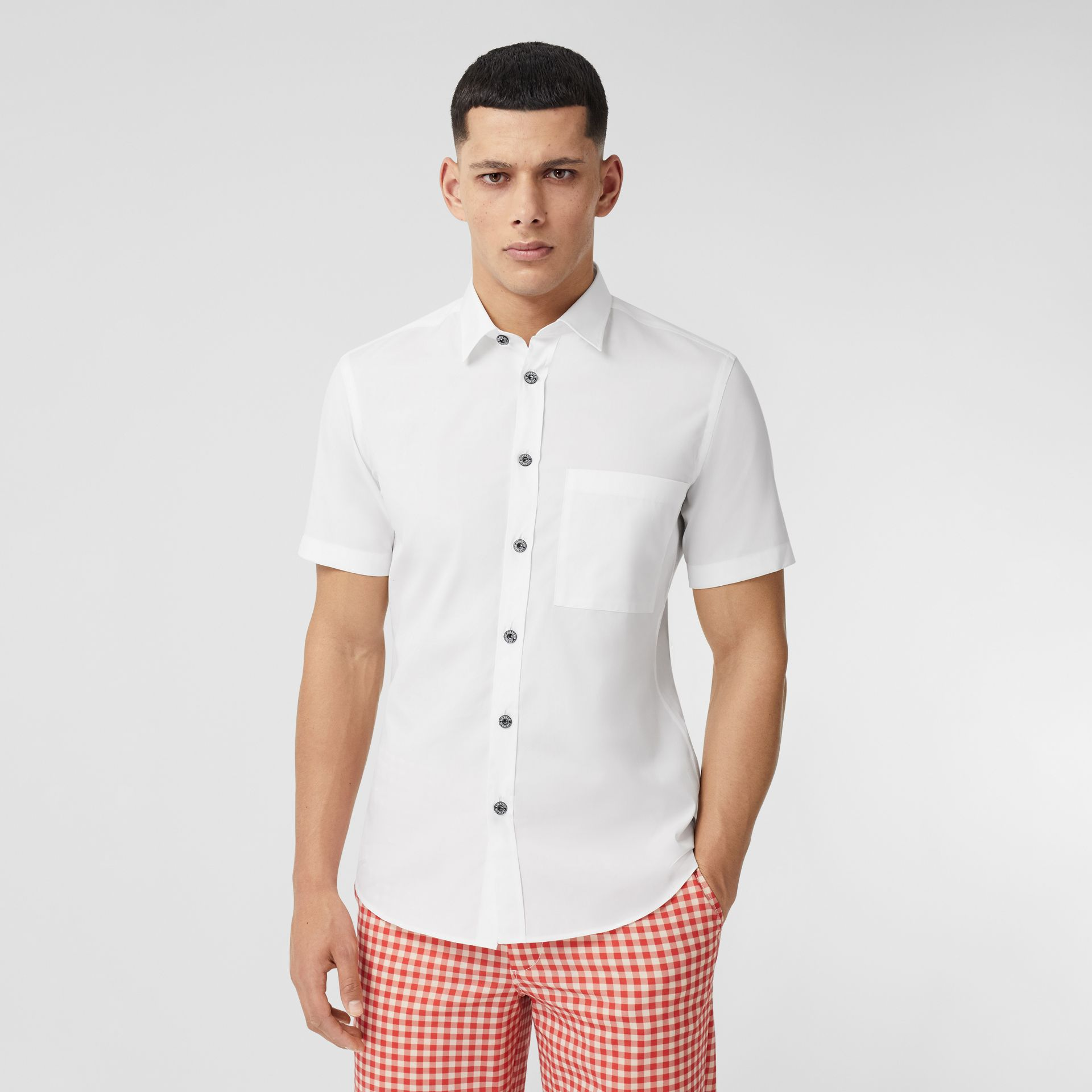 Short-sleeve Slim Fit Stretch Cotton Poplin Shirt in White - Men | Burberry - gallery image 0
