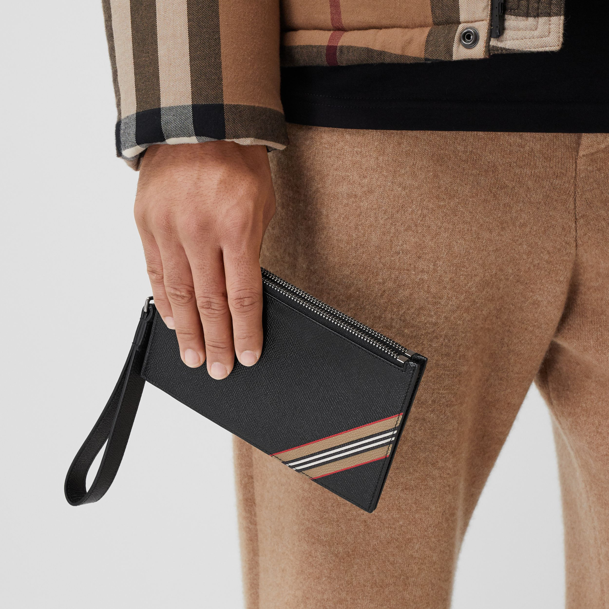 Icon Stripe Print Grainy Leather Zip Pouch in Black | Burberry - 4