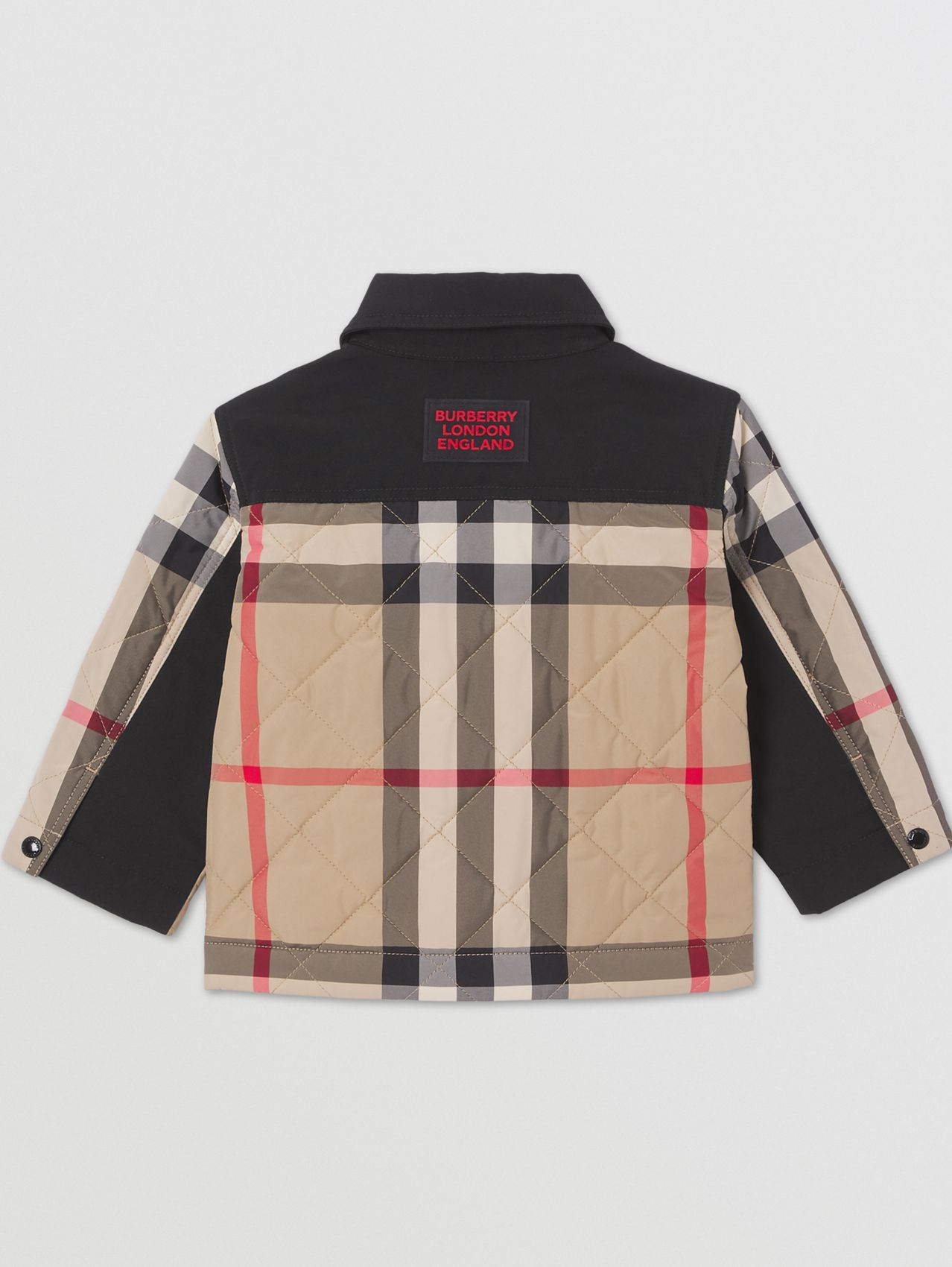 Logo Appliqué Check Diamond Quilted Jacket in Archive Beige