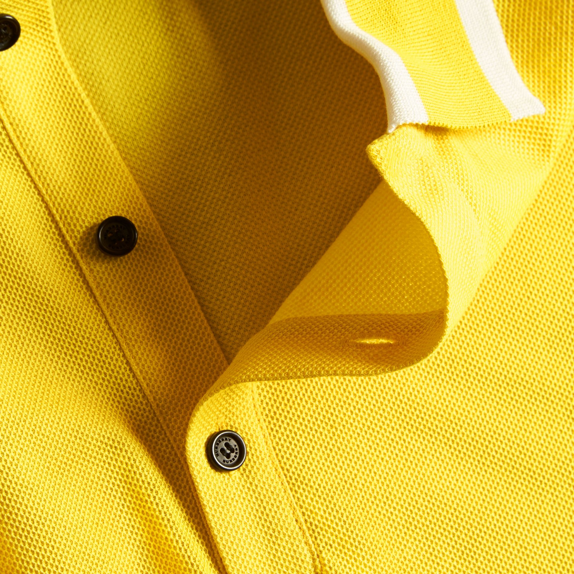 Striped Collar Cotton Piqué Polo Shirt in Daffodil - gallery image 2