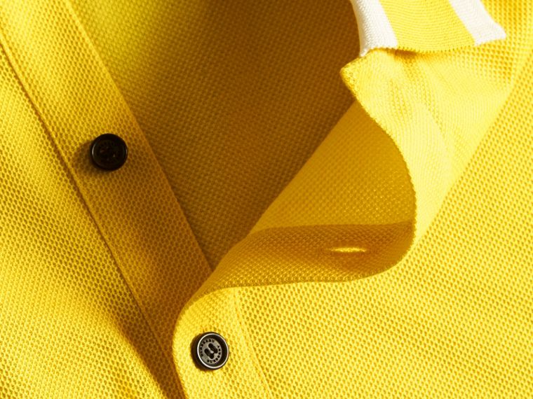 Striped Collar Cotton Piqué Polo Shirt Daffodil - cell image 1
