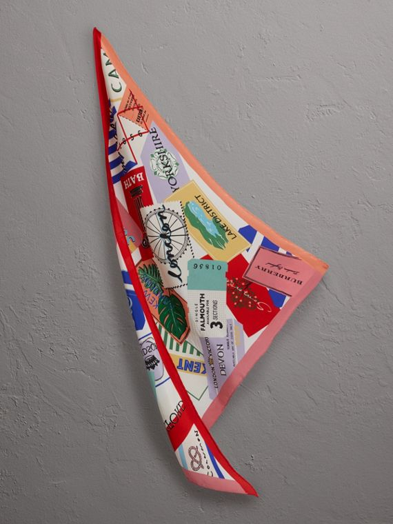 Ticket Stub Print Silk Scarf in Bright Red