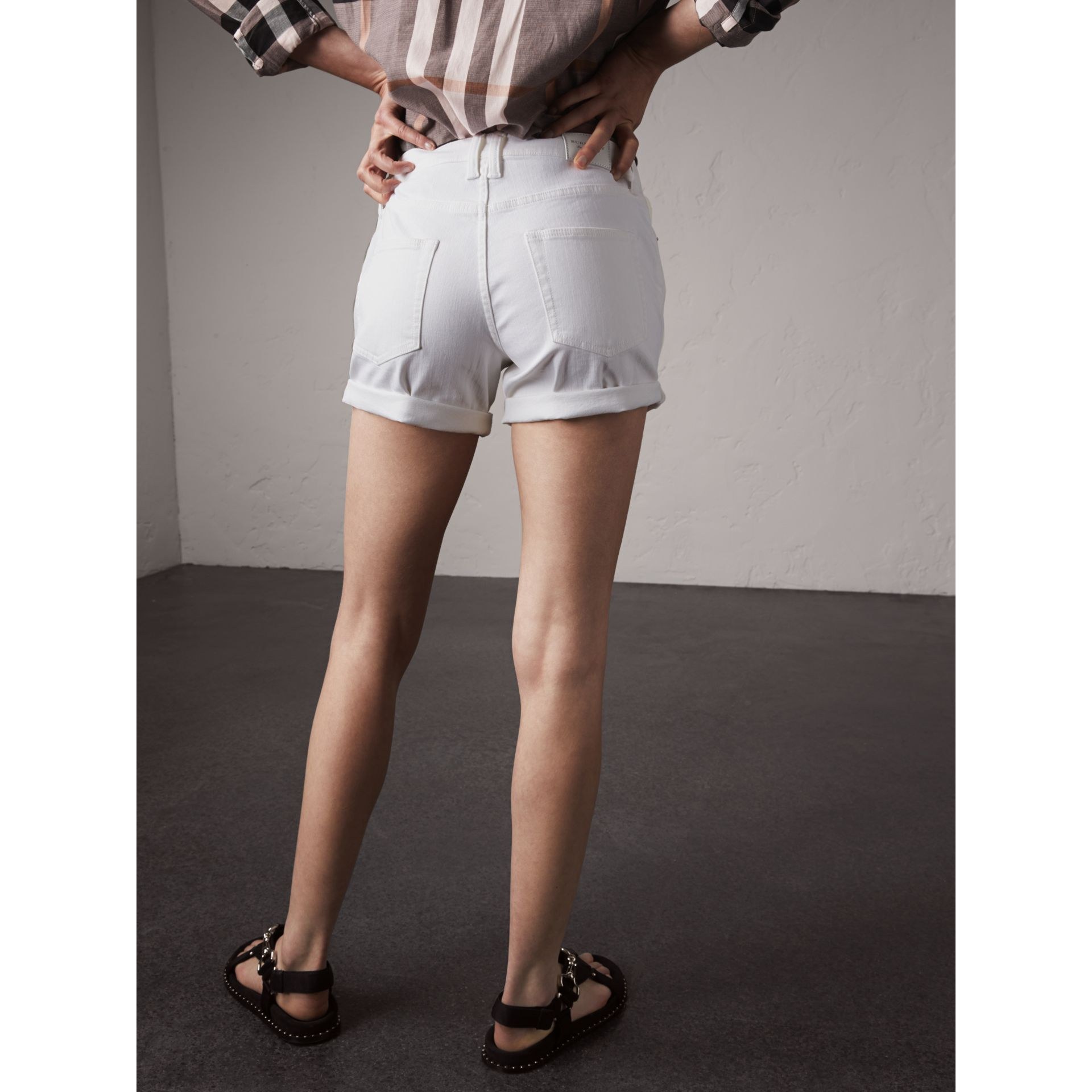 Low-rise Power-stretch Denim Shorts in White - Women | Burberry - gallery image 2
