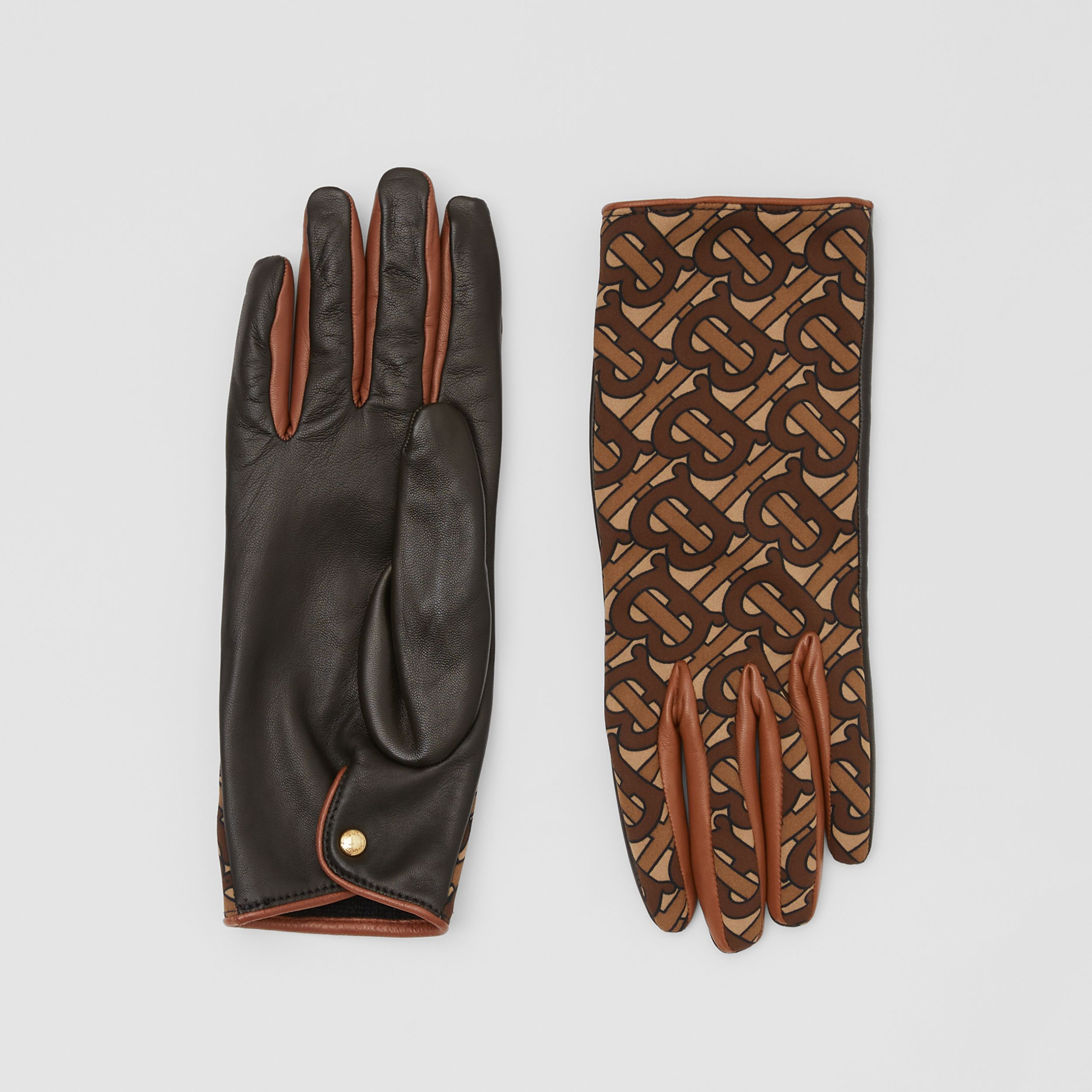 Cashmere-lined Monogram Print Lambskin Gloves in Bridle Brown | Burberry - 1