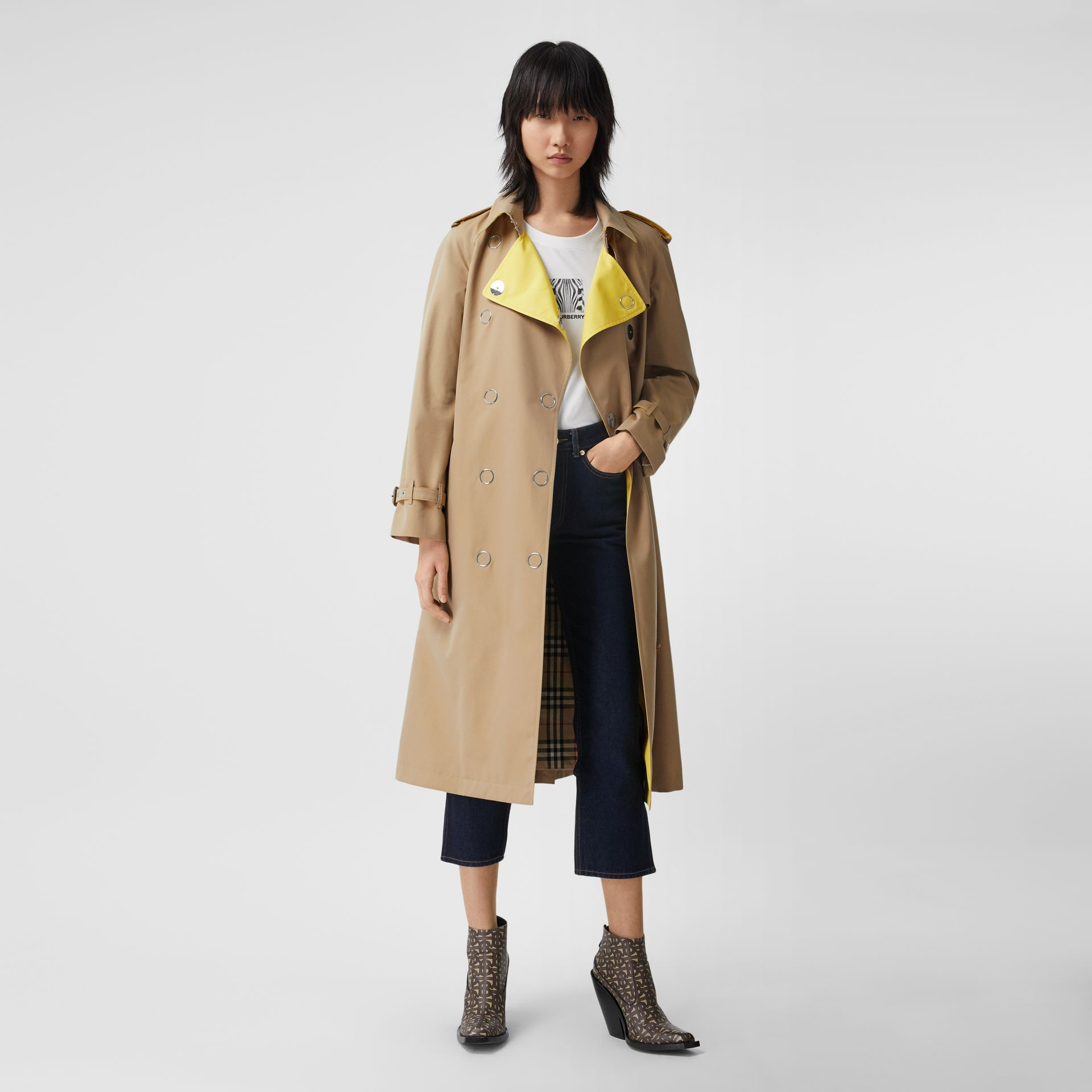 Colour Block Cotton Gabardine Trench Coat in Honey - Women | Burberry Canada - gallery image 0