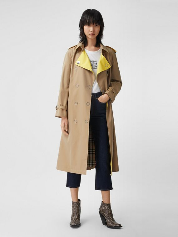 Trench en gabardine de coton color-block (Miel)