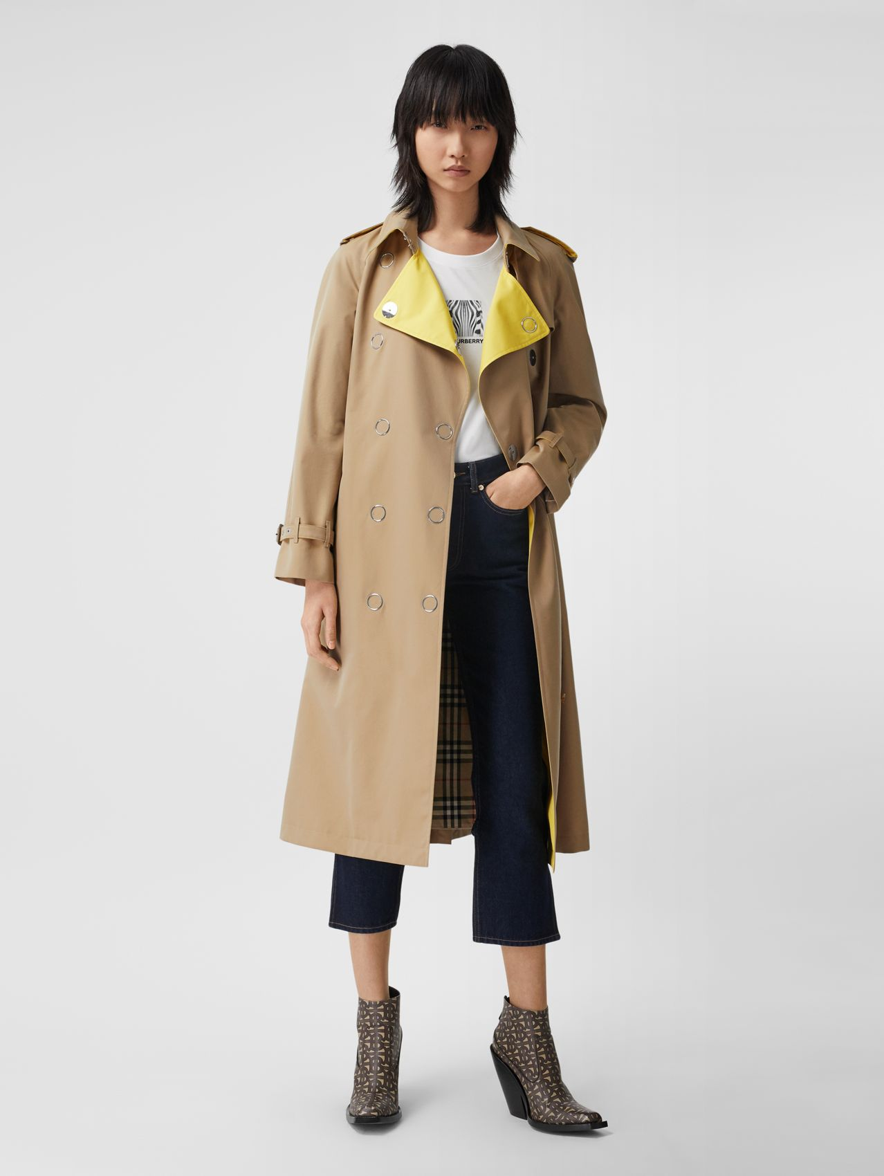 Colour Block Cotton Gabardine Trench Coat (Honey)