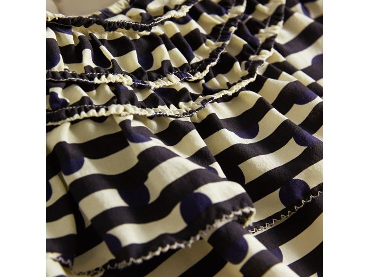 Ruched Detail Spot and Stripe Print Silk Dress in Navy | Burberry - cell image 1