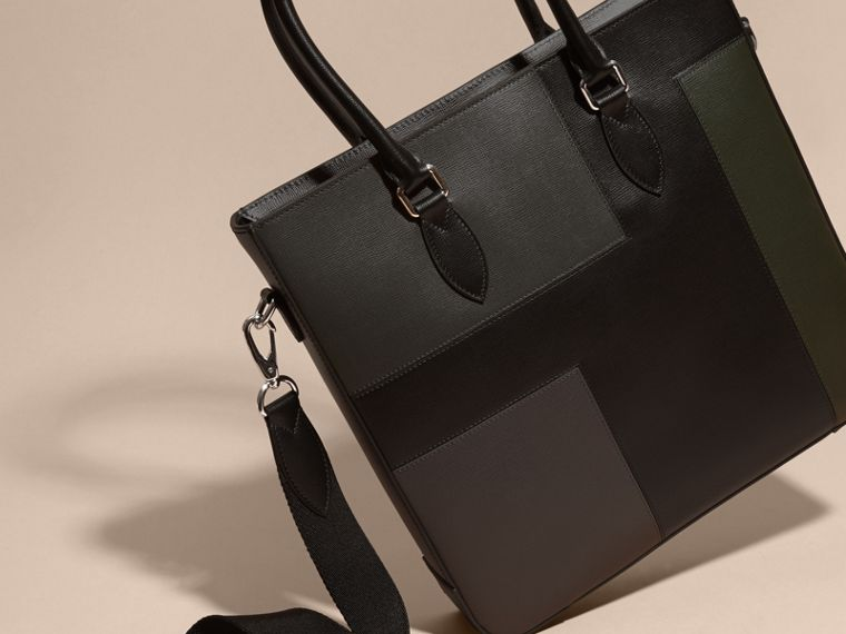 Black Patchwork London Leather Tote Bag - cell image 4