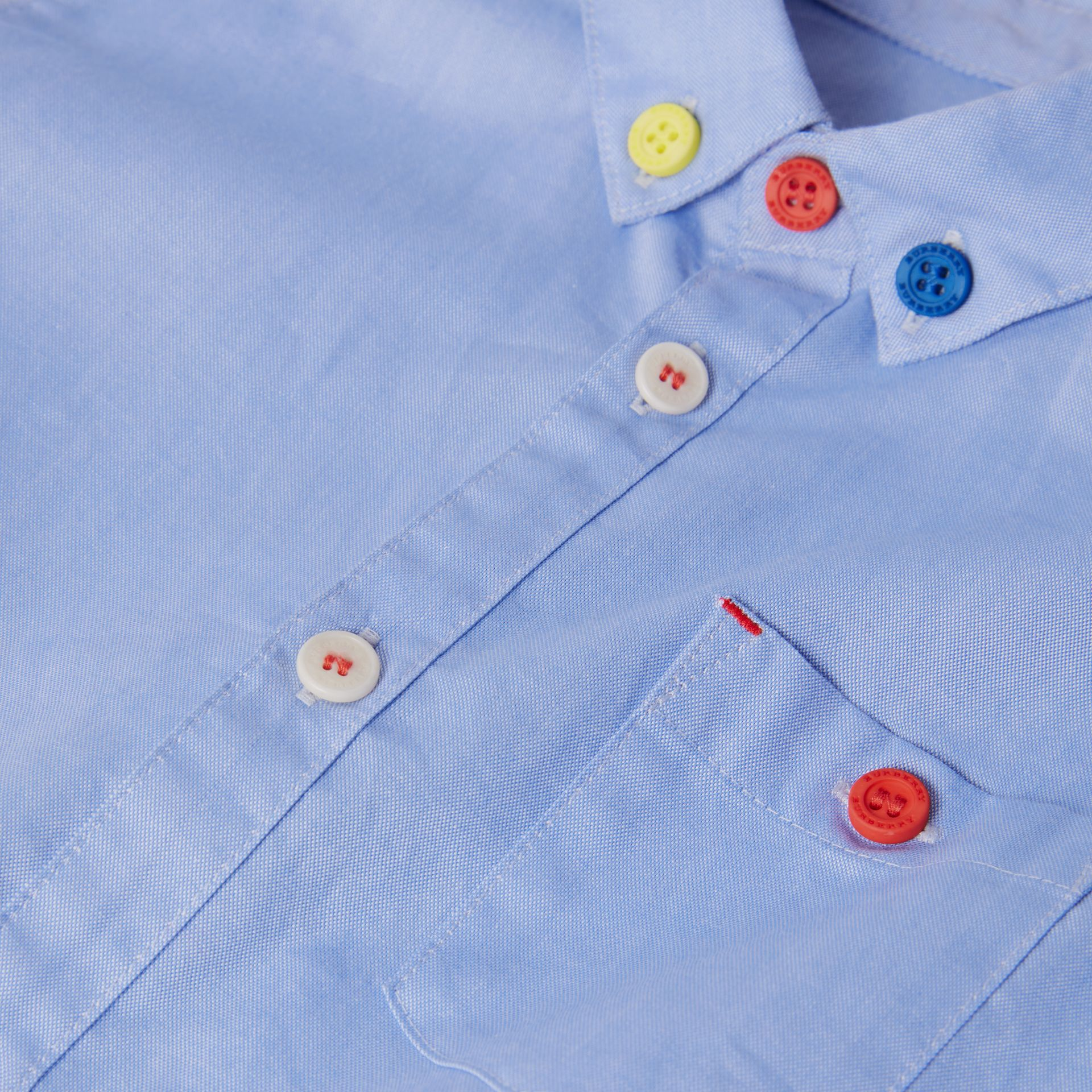 Short-sleeve Button-down Collar Cotton Oxford Shirt in Cornflower | Burberry - gallery image 1