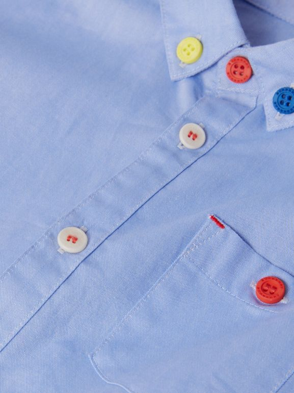 Short-sleeve Button-down Collar Cotton Oxford Shirt in Cornflower | Burberry - cell image 1