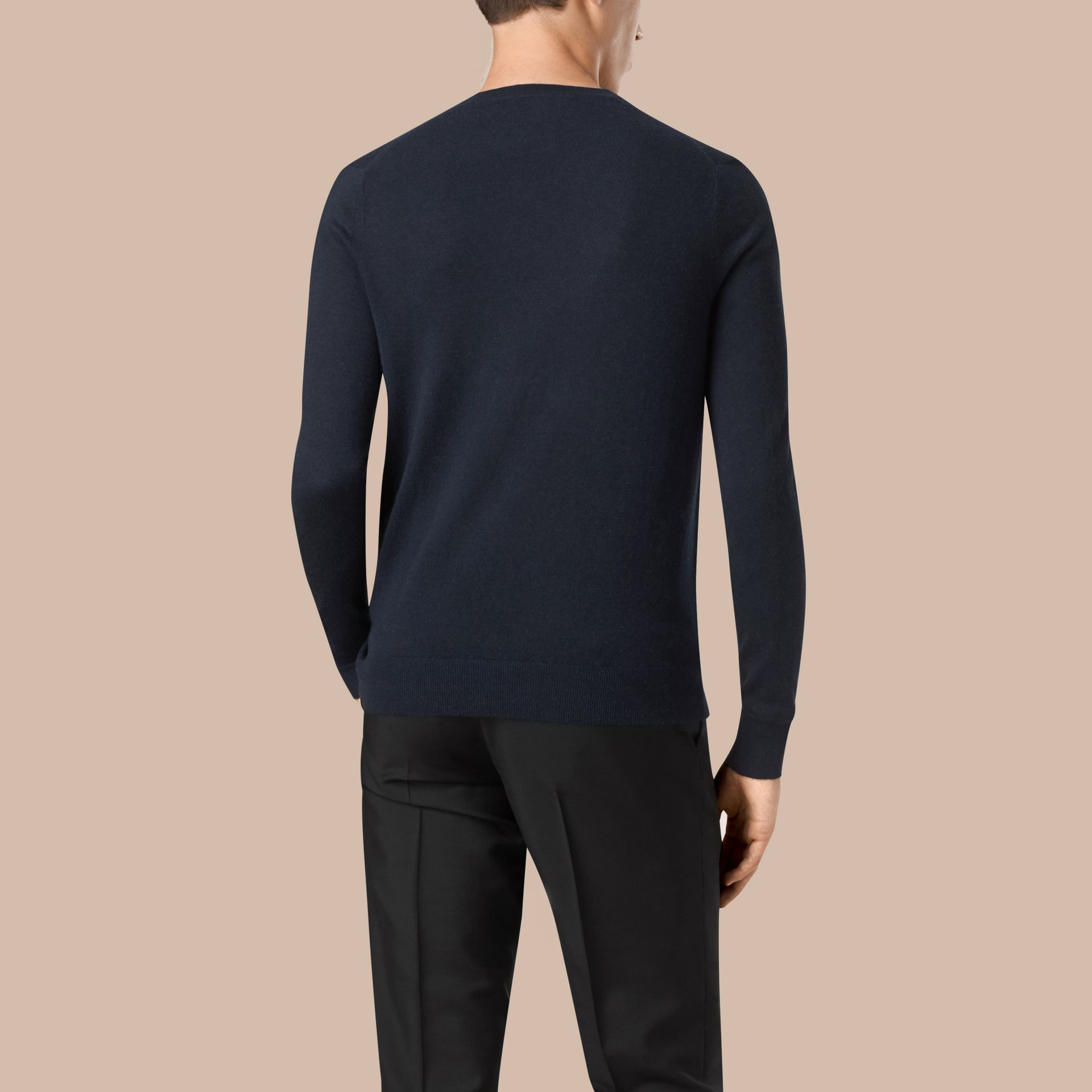 Navy Cashmere V-neck Sweater Navy - gallery image 3
