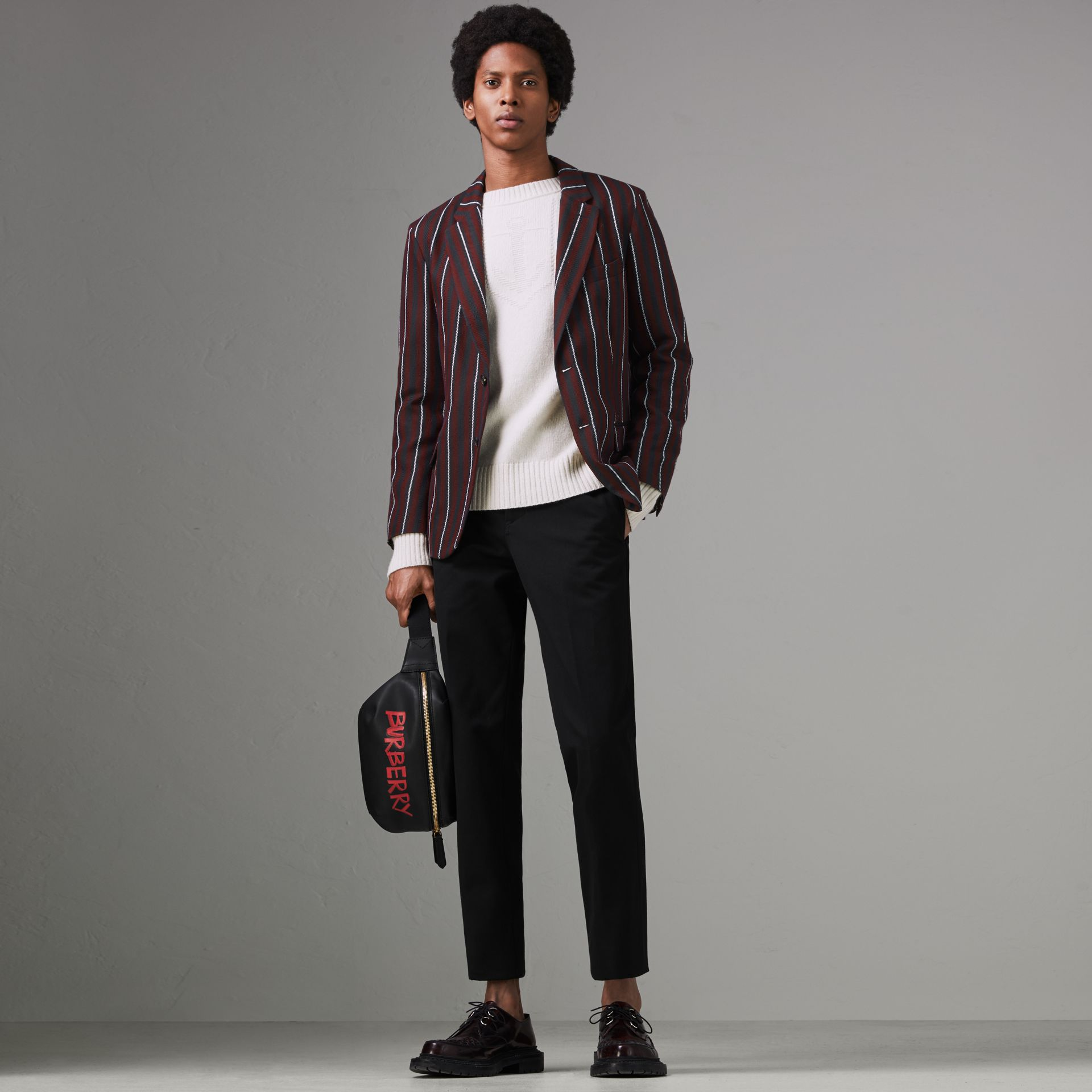 Slim Fit Striped Wool Silk Blazer in Burgundy - Men | Burberry Singapore - gallery image 0