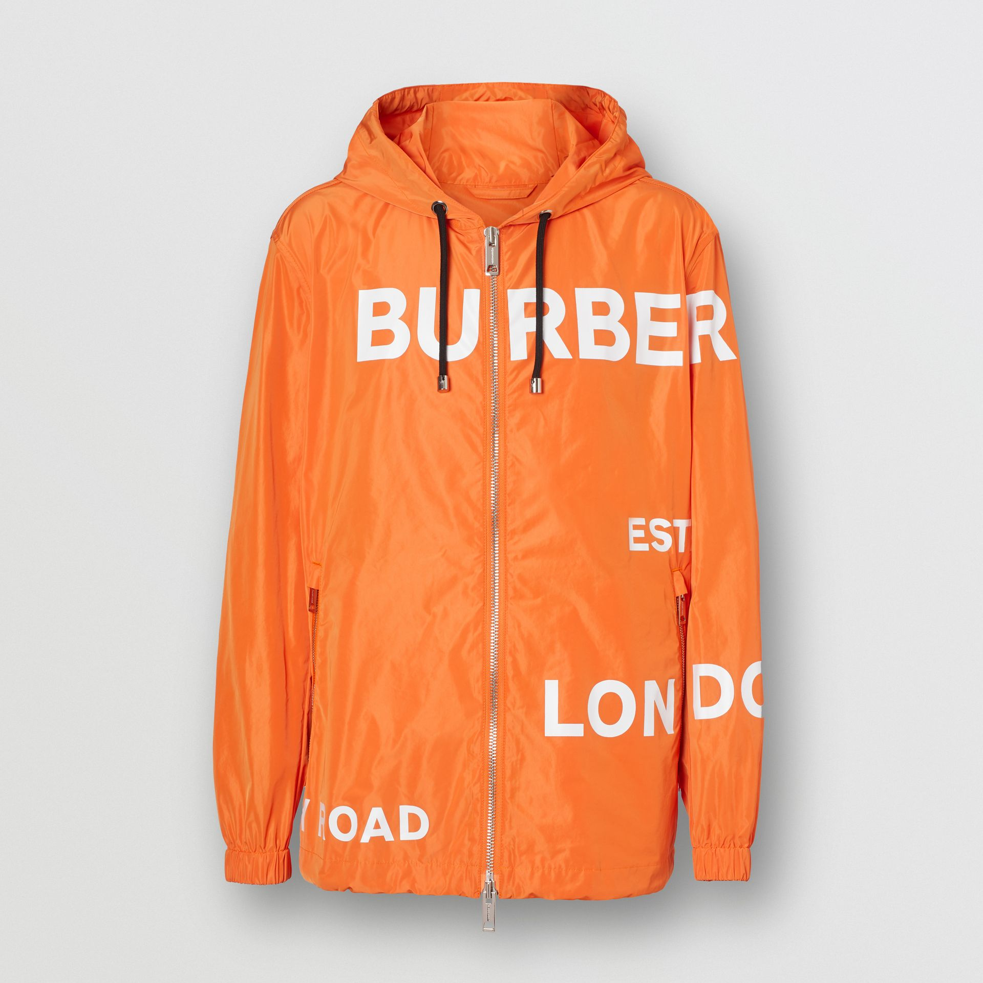 Horseferry Print Nylon Hooded Jacket in Bright Orange - Men | Burberry - gallery image 3