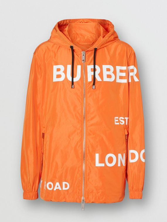 Horseferry Print Nylon Hooded Jacket in Bright Orange
