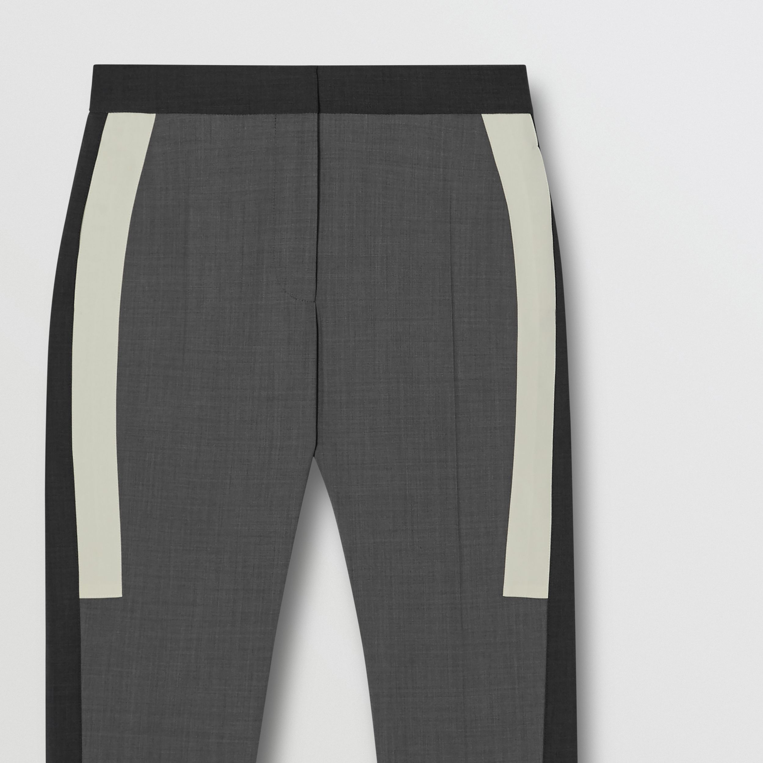 Contrast Stripe Stretch Wool Tailored Trousers in Grey - Women | Burberry - 3