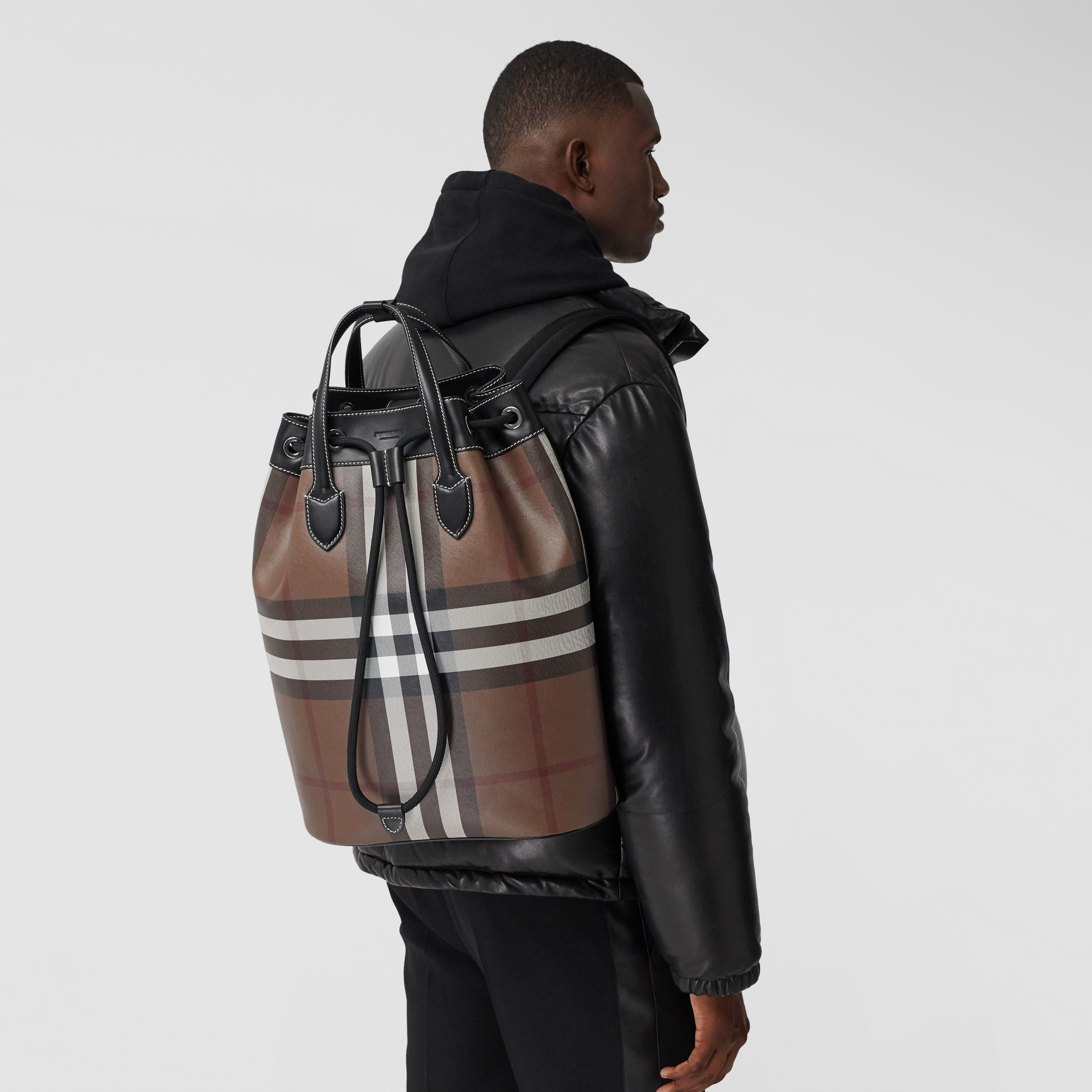 Check Print Leather Drawcord Backpack in Dark Birch Brown | Burberry - 4