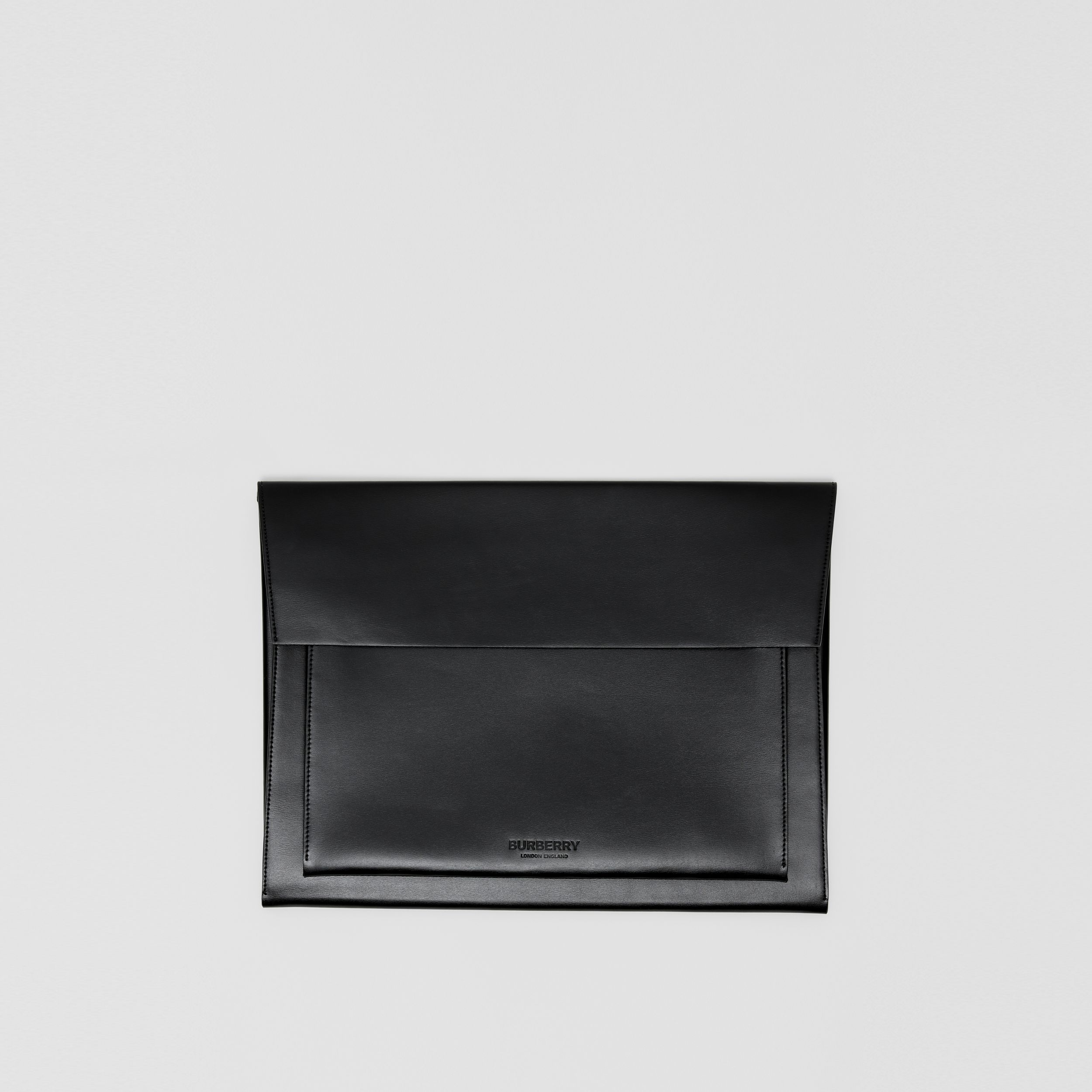 Leather Laptop Envelope Pouch in Black - Men | Burberry - 1