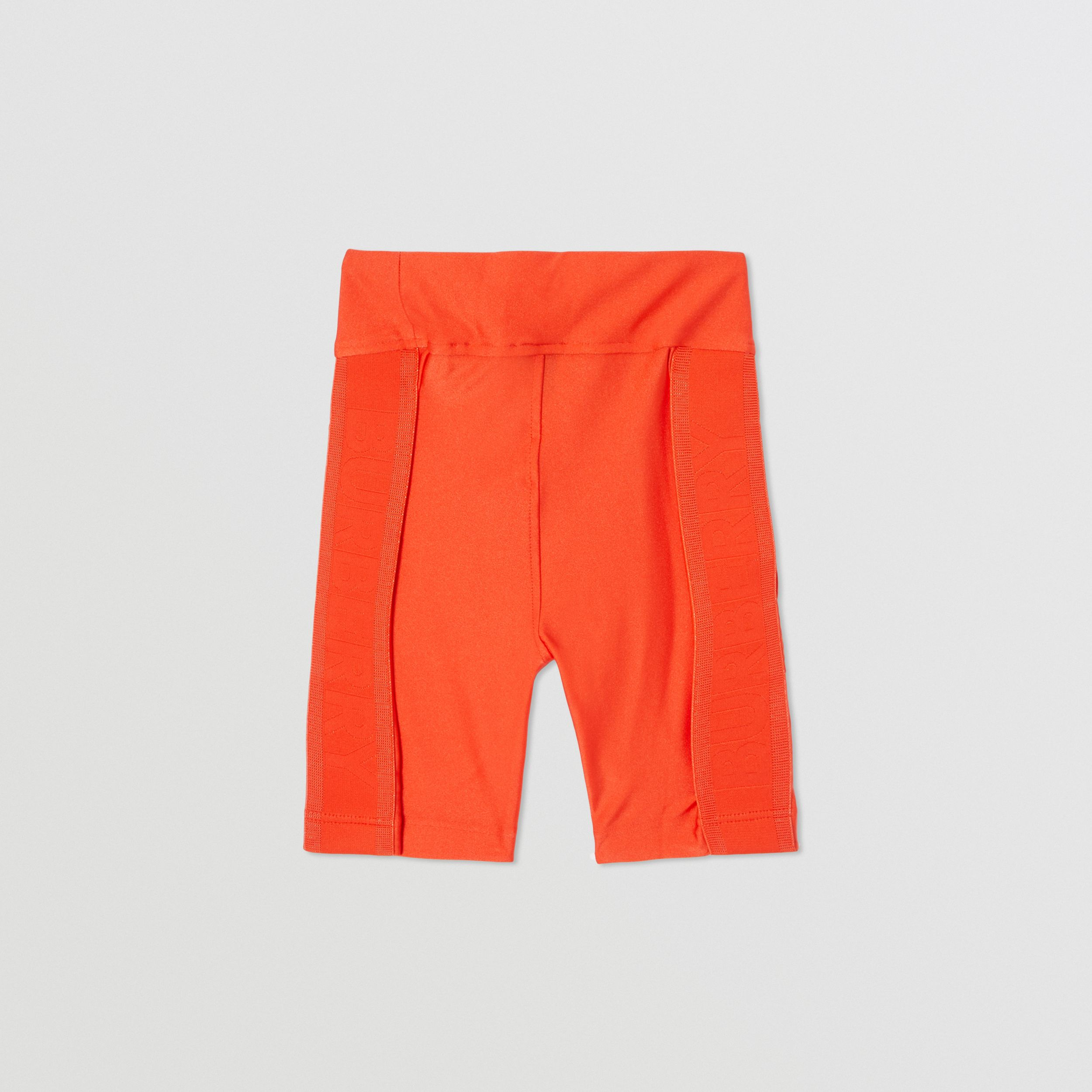 Coordinates Print Stretch Jersey Cycling Shorts in Orange Red | Burberry United States - 4