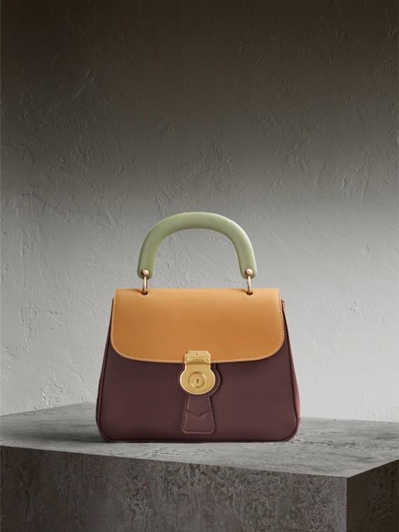 The Medium DK88 Top Handle Bag in Dark Chocolate/ochre Yellow