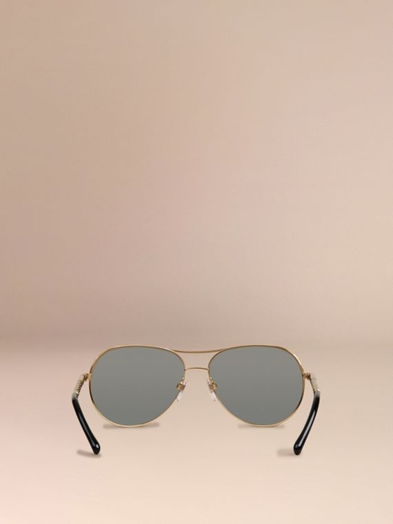 Gold Gabardine Collection Aviator Sunglasses Gold - cell image 3