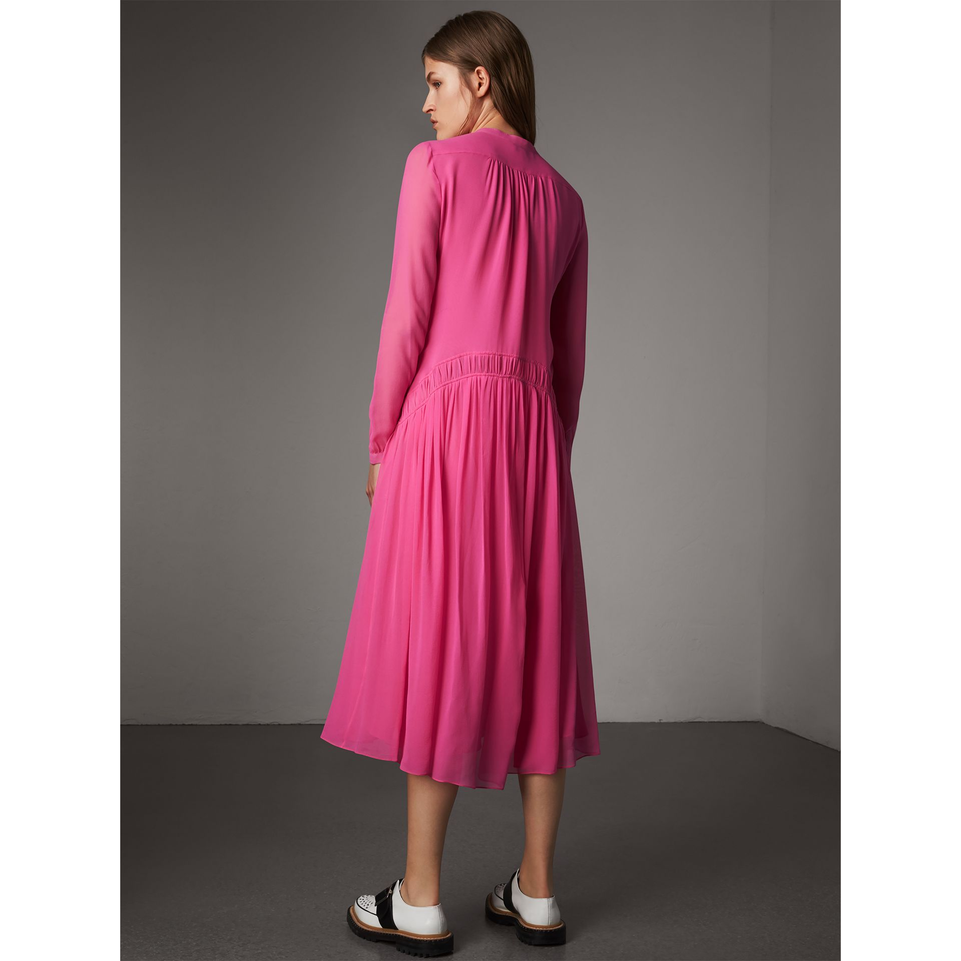 Gathered Silk Georgette Dress in Neon Pink - Women | Burberry - gallery image 2