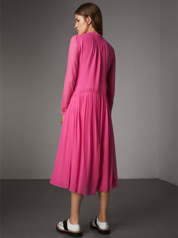 Gathered Silk Georgette Dress in Neon Pink - Women | Burberry - cell image 2