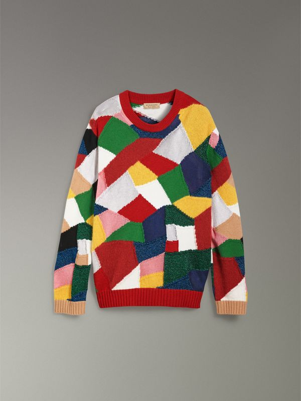 Patchwork Cashmere Wool Blend Sweater in Military Red - Women | Burberry Australia - cell image 3