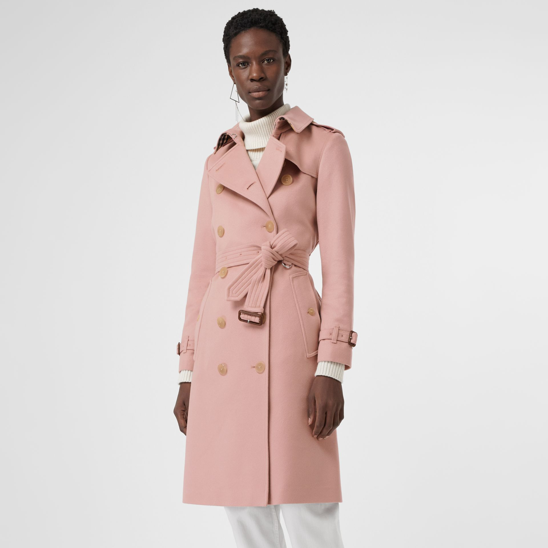 Cashmere Trench Coat in Chalk Pink - Women | Burberry Canada - gallery image 6